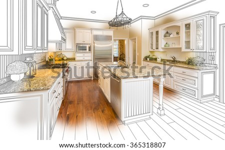 Beautiful Custom Kitchen Design Drawing and Brushed In Photo Combination. #365318807