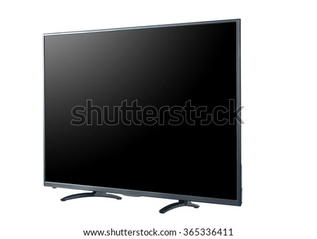 Side shot of LED tv screen isolated on white background #365336411