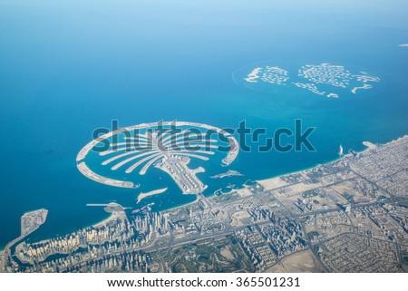 Dubai coastline, United Arab Emirates, Aerial View