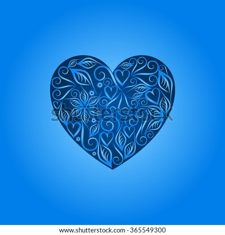 Vintage heart symbol of love valentines day Blue #365549300