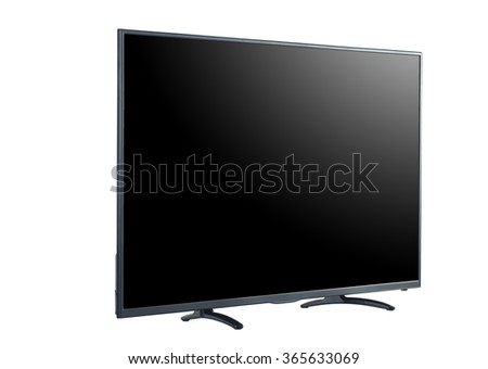 Side shot of LED tv screen isolated on white background #365633069