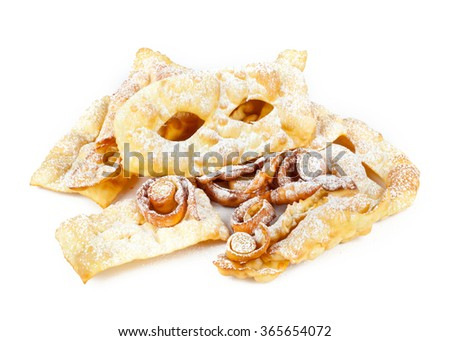 """typical dessert Italian carnival, """"chiacchiere"""" fries on white. #365654072"""
