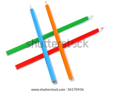coloured pencils isolated on white background #36570436