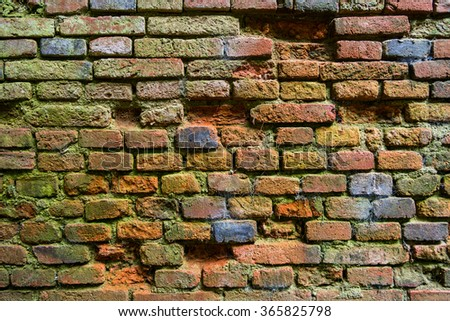 Old grunge brick wall in a background image. #365825798