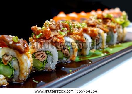 Buta roll - Japanese grilled pork roll #365954354