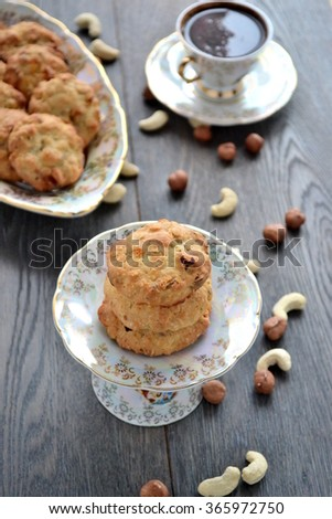 Oatmeal - Nut Cookies   #365972750