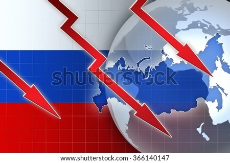 Russian currency ruble crisis - concept news background illustration #366140147