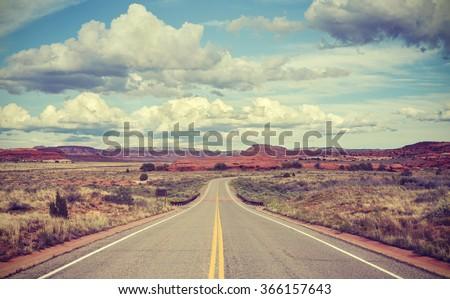 Vintage stylized desert road, travel concept. #366157643
