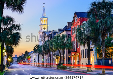 Charleston, South Carolina, USA cityscape in the historic French Quarter at twilight. Royalty-Free Stock Photo #366174719