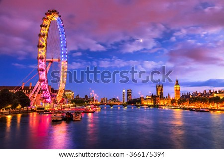 London at twilight. London eye, County Hall, Westminster Bridge, Big Ben and Houses of Parliament. Royalty-Free Stock Photo #366175394