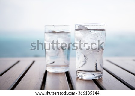 Glass of iced water at restaurant #366185144