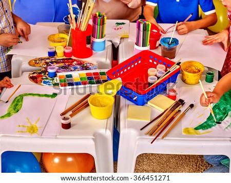 Interior of art game room in kids preschool  kindergarten.