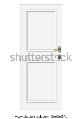 One white vector door with panel #36656371