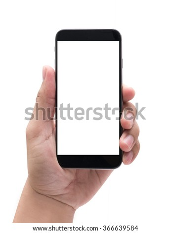 Isolated female hand holding a phone with white screen #366639584