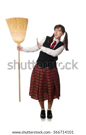 Funny girl with broom isolated on white #366714101