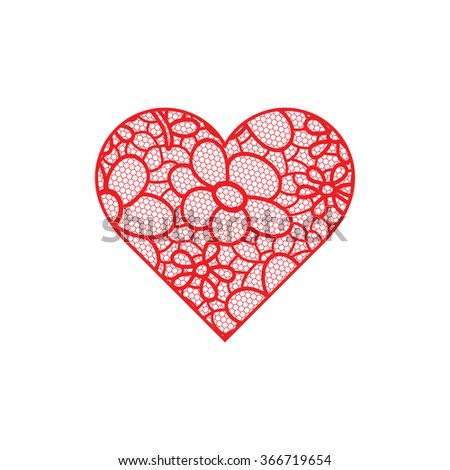 Heart shape with hand drawn floral ornament #366719654