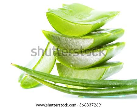 aloe vera slices on white background #366837269