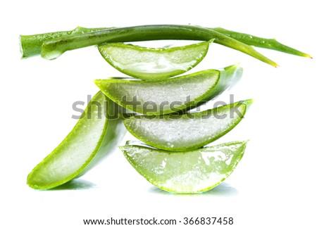 aloe vera slices on white background #366837458