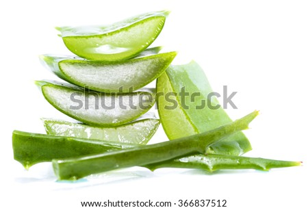 aloe vera slices on white background #366837512