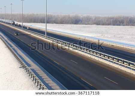 highway on a sunny winter weather #367117118