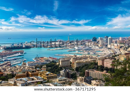 Panoramic view port of Genoa in a summer day, Italy Royalty-Free Stock Photo #367171295