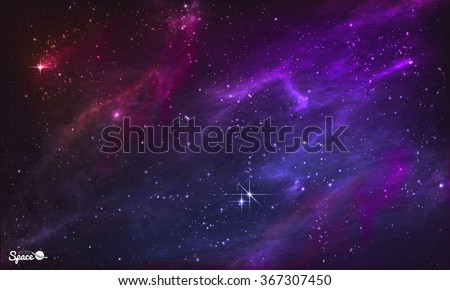 Starry Nebula. Colorful Outer Space background. Vector illustration.