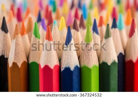 Close up macro shot of color pencil pile pencil nibs Royalty-Free Stock Photo #367324532