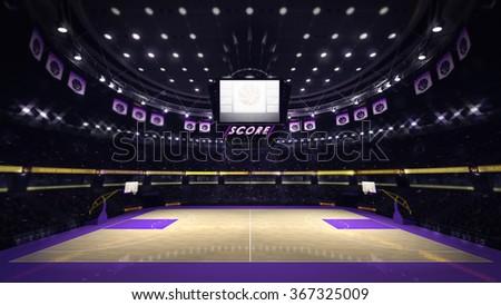 illuminated basketball court with spectators and spotlights, sport topic arena interior illustration