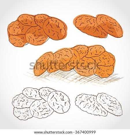 Oatmeal Cookies. Set. Sketch.