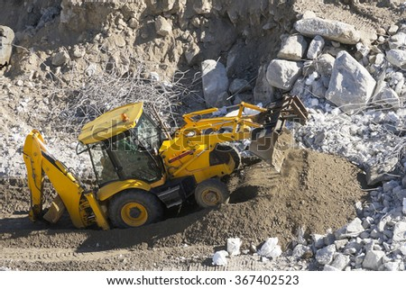 excavator in  construction site #367402523