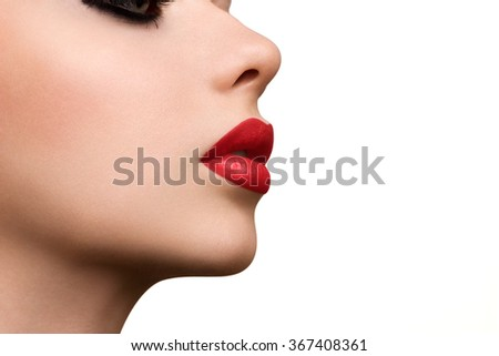 Beauty makeup for blue eyes. Part of beautiful face closeup. Perfect skin, long eyelashes. Make up concept. #367408361