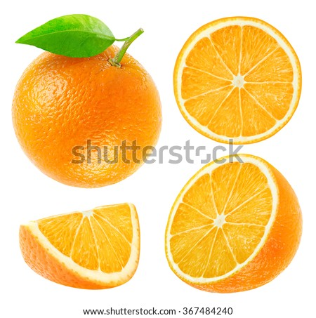Isolated oranges. Collection of whole and sliced orange fruits isolated on white background with clipping path #367484240