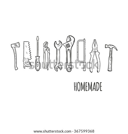 Homemade Hand tools Isolated ob white Background Illsutration #367599368