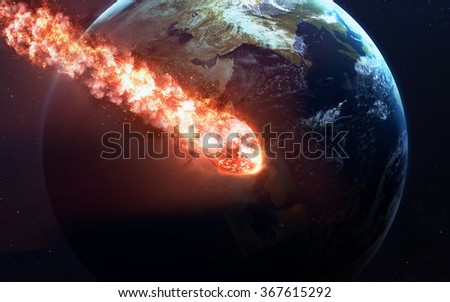 The Falling Meteor Rain. Comet in space, meteor and energy, asteroid glow, powerful star moving. Elements of this image furnished by NASA