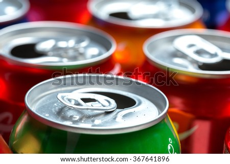 Colorful aluminum cans isolated on white background #367641896
