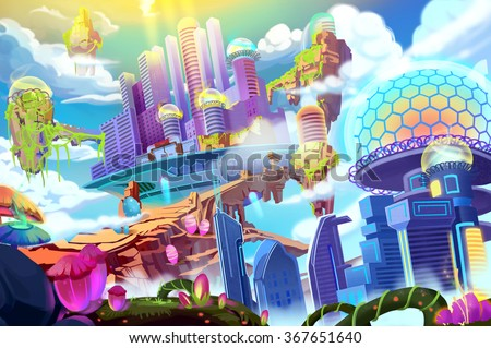 Creative Illustration and Innovative Art: Future City. Realistic Fantastic Cartoon Style Artwork Scene, Wallpaper, Story Background, Card Design
