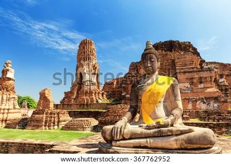 Wat Mahathat in Buddhist temple complex in Ayutthaya near Bangkok. Thailand #367762952