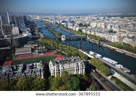 Bird-eye view of the Seine River in Paris viewed from the Eiffel Tower #367895555