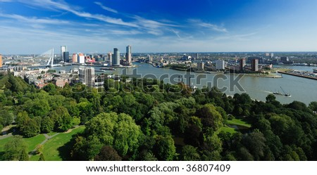 aerial view of  Rotterdam in the Netherlands, Europe #36807409