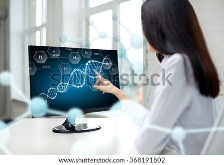 close up of woman with dna molecule on computer #368191802