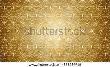 Sacred geometry in flower pattern shape on old paper texture