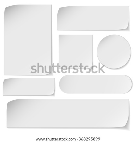 Set of white paper stickers on white background Royalty-Free Stock Photo #368295899
