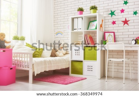 Interior of colorful bedroom for child girl #368349974