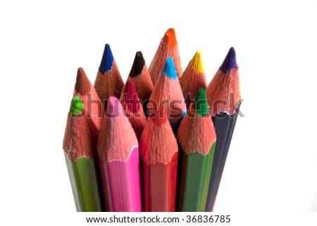 colorful pencils isolated on white background #36836785