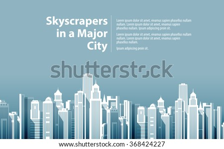 skyscrapers in a major city. vector illustration Royalty-Free Stock Photo #368424227