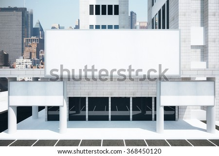 Blank white billboards in financial district of megapolis city at sunrise, mock up 3D Render