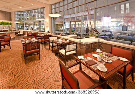 Interior of the restaurant of the luxury five stars hotel. Vancouver, Canada. #368520956