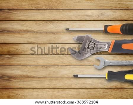 Assorted work tools on wood #368592104