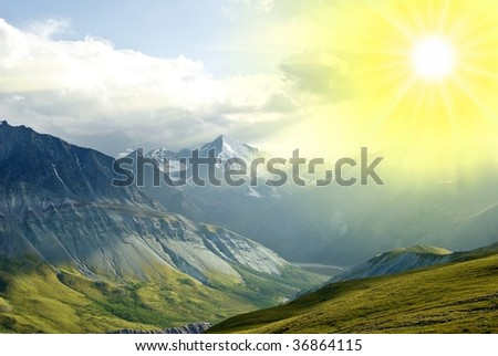 rays of sun above a mountains #36864115