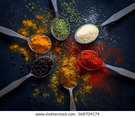 Spices and herbs Royalty-Free Stock Photo #368704574